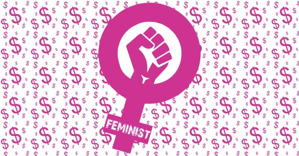 A pink venus feminist symbol surrounded by dollar signs