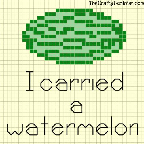 I carried a watermelon cross stitch pattern